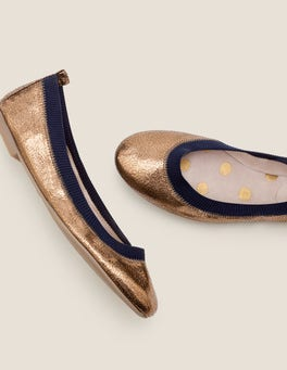 Bronze Metallic/Navy Hettie Ballerinas