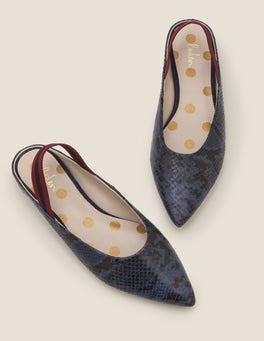 Navy Snake/Stripe Hannah Slingbacks