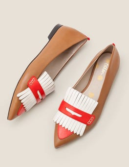 Gingerbread/Post Box Red Bea Fringe Flats