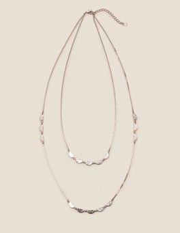 Silver Metallic Scallop Longline Necklace