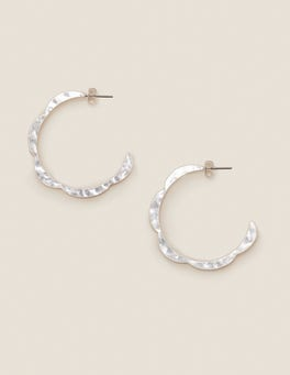 Silver Metallic Scallop Hoops