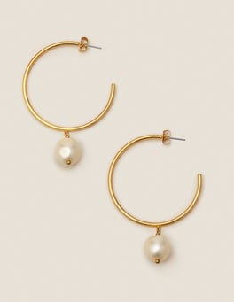 Glass Pearl Hoops