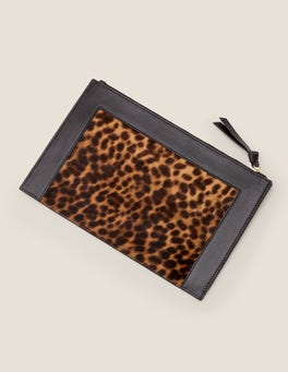 Tan Leopard/Black Large Leather Keepsake Pouch