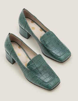 Woodland Green Croc Carina Heeled Loafers