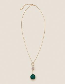 Lange Halskette mit Halbedelsteinen
