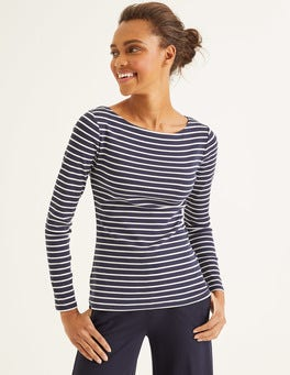 Navy/Naturweiß Basic-Shirt mit U-Boot-Ausschnitt