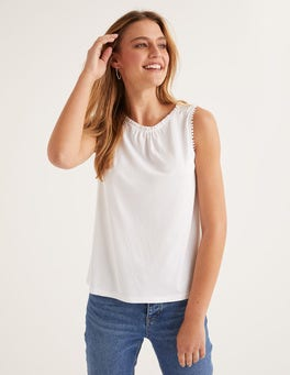 White Frill Jersey Tank