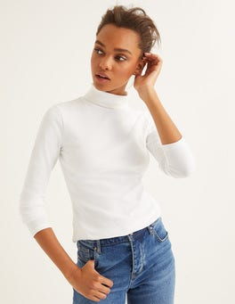 White Essential Roll Neck