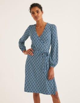 Mittelblau, OrnamenteElodie Wickelkleid aus Jersey