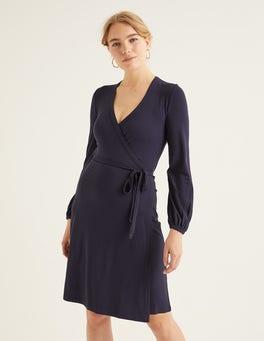 Bleu marine Robe portefeuille Elodie en jersey