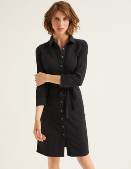 Black Tara Jersey Shirt Dress