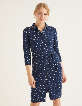 Navy, Brand Dot Tara Jersey Shirt Dress