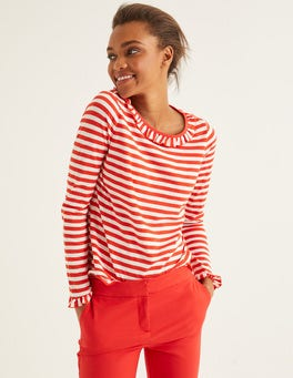 Ivory/Red Pop Olive Jersey Top