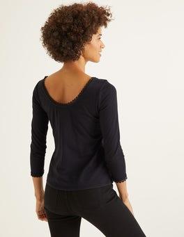 Schwarz Ottilie Jerseyoberteil mit rundem Rückenausschnitt
