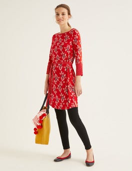 Post Box Red, Stamp Vine Amy Jersey Tunic