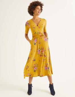 Safrangelb, Blumenmuster Carrie Jersey-Midikleid