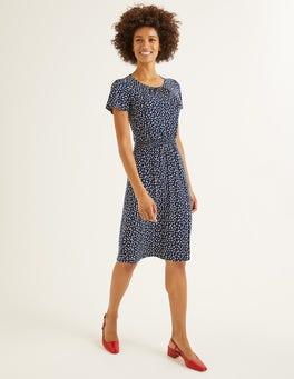 Navy, Ditsy Petal Evangeline Jersey Dress