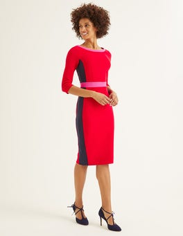 Post Box Red/ Navy Leah Ottoman Dress