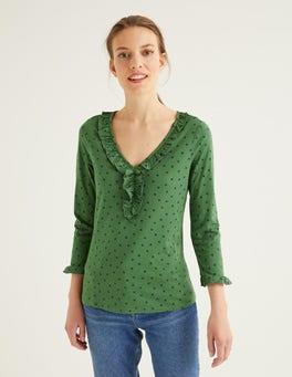 Ackerbohnengrün, Polka-TupfenFederica Jerseyoberteil