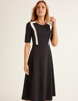 Black Emily Ponte Midi Dress