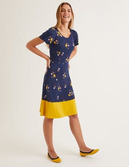 Navy, Pretty Bloom Erica Ponte Dress