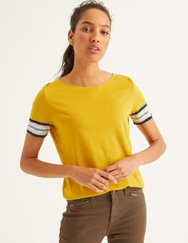 Short Sleeve Striped Cuff Tee