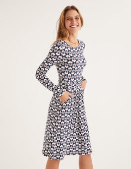 Navy and Ivory, Petal Head Abigail Jersey Dress