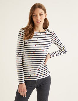 Ivory/Navy Multi Dot Long Sleeve Breton