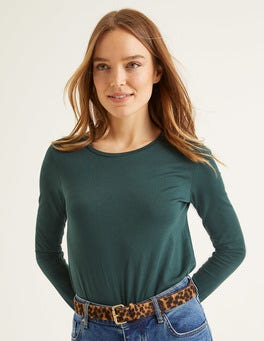 Mitternachtsgrün Superweiches langärmliges T-Shirt