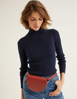 Navy Tilly Roll Neck Sweater