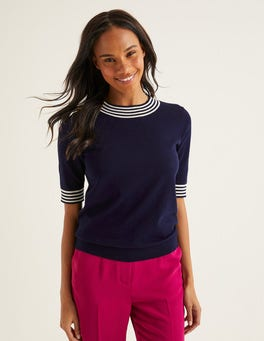 Navy Tipped Rachel Knitted Tee