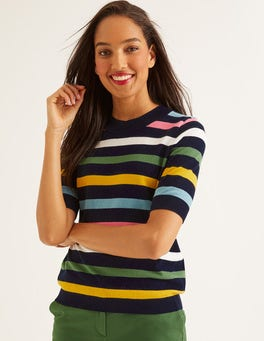 03c4be0439d Navy Multi Stripe Colour Detail Knitted Tee
