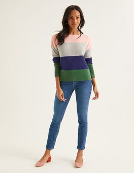 Chalky Pink Colourblock Stripe Melinda Cashmere Sweater