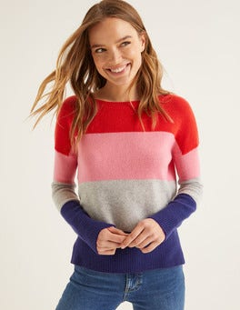 Postbox Red Colourblock Stripe Melinda Cashmere Jumper