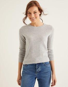 Grey Melange Cashmere Crew Neck Sweater