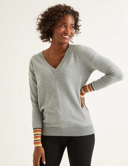 Grey Melange Cassandra V Neck Sweater