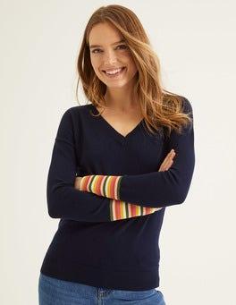Navy Cassandra V Neck Sweater