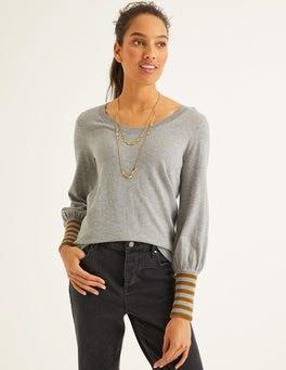 Grey melange/Gold Sparkle Cuff Bernice Sweater