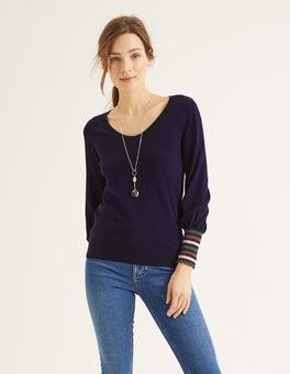 Navy/Multi Sparkle Cuff Bernice Sweater