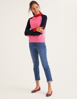 Crayon Pink/Navy Colourblock Flora Sweater