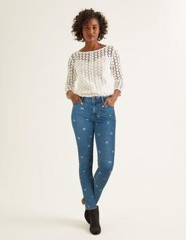 Mid Vintage Bird Print Skinny Jeans