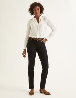 Black Slim Straight Jeans