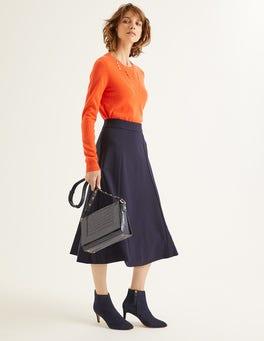 Navy Rosie Ponte Midi Skirt