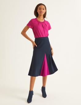 Navy Henrietta Ponte Midi Skirt