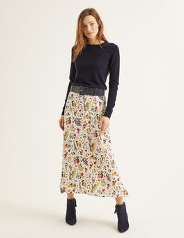 Ivory, Whimsical Bird Indie Midi Skirt