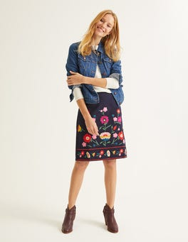 Navy Olivia Embroidered Mini Skirt