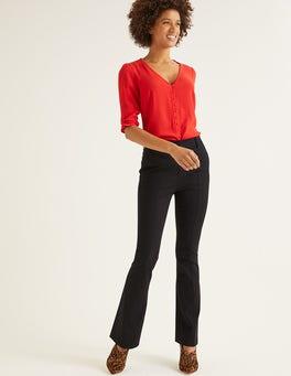 Black Bath Bi-Stretch Flare Trousers