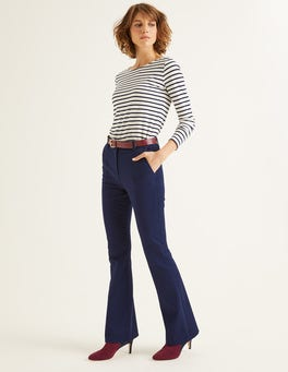 Navy Bath Bi-Stretch Flare Trousers
