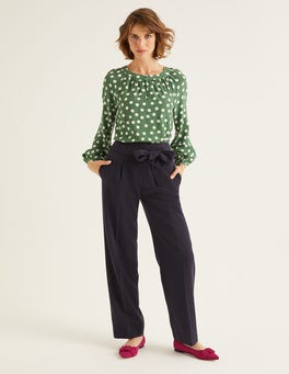 Navy Ketton Wide Leg Trousers