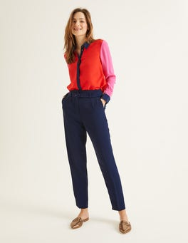 Navy Christina Belted Trousers